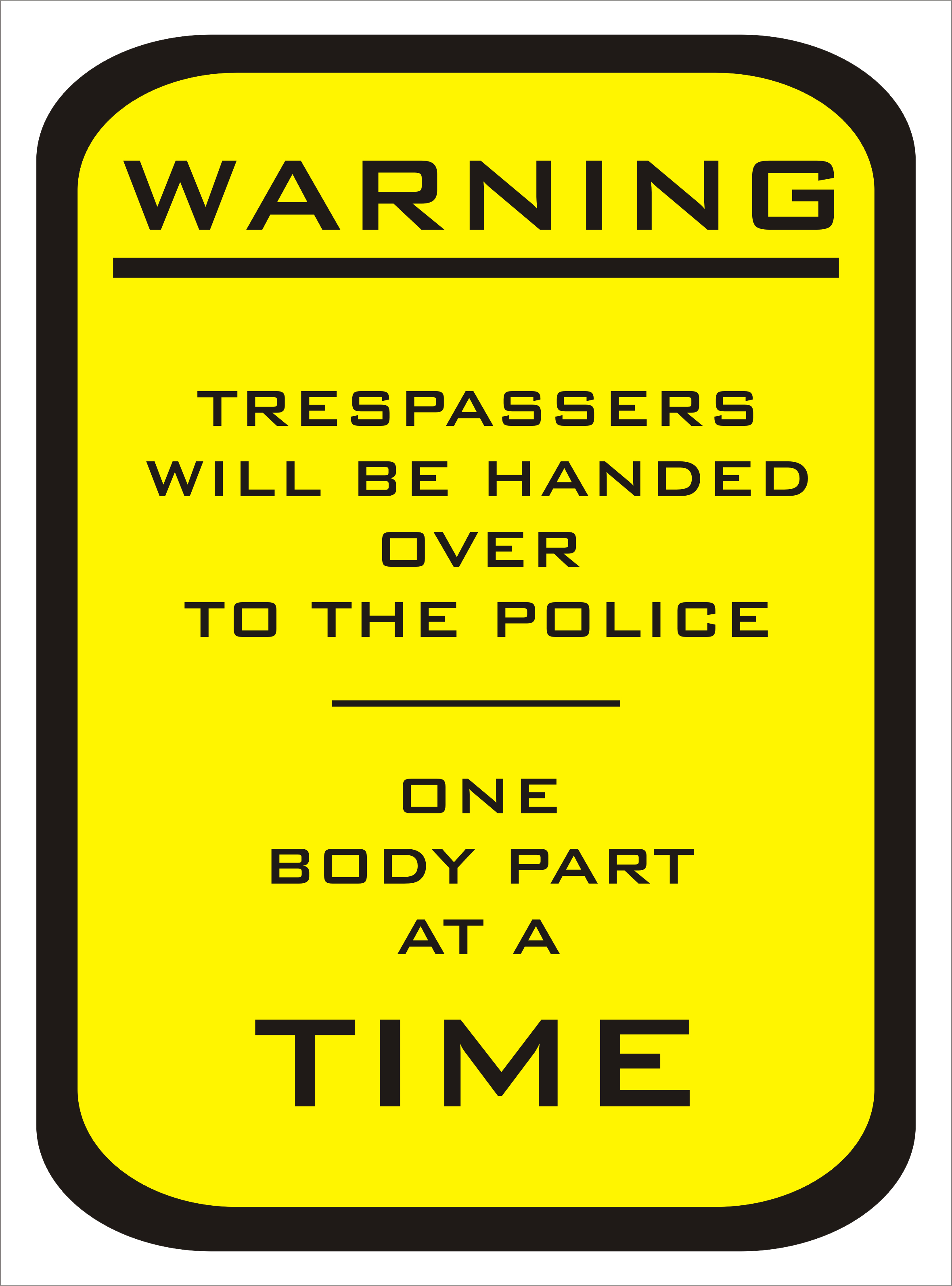 Warning Trespassers will be handed over to the police on body part at a time sign
