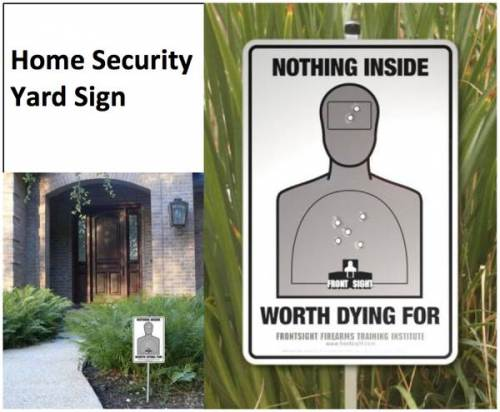 Security yard sign, target from range practice, perfect score, nothing inside worht duying for