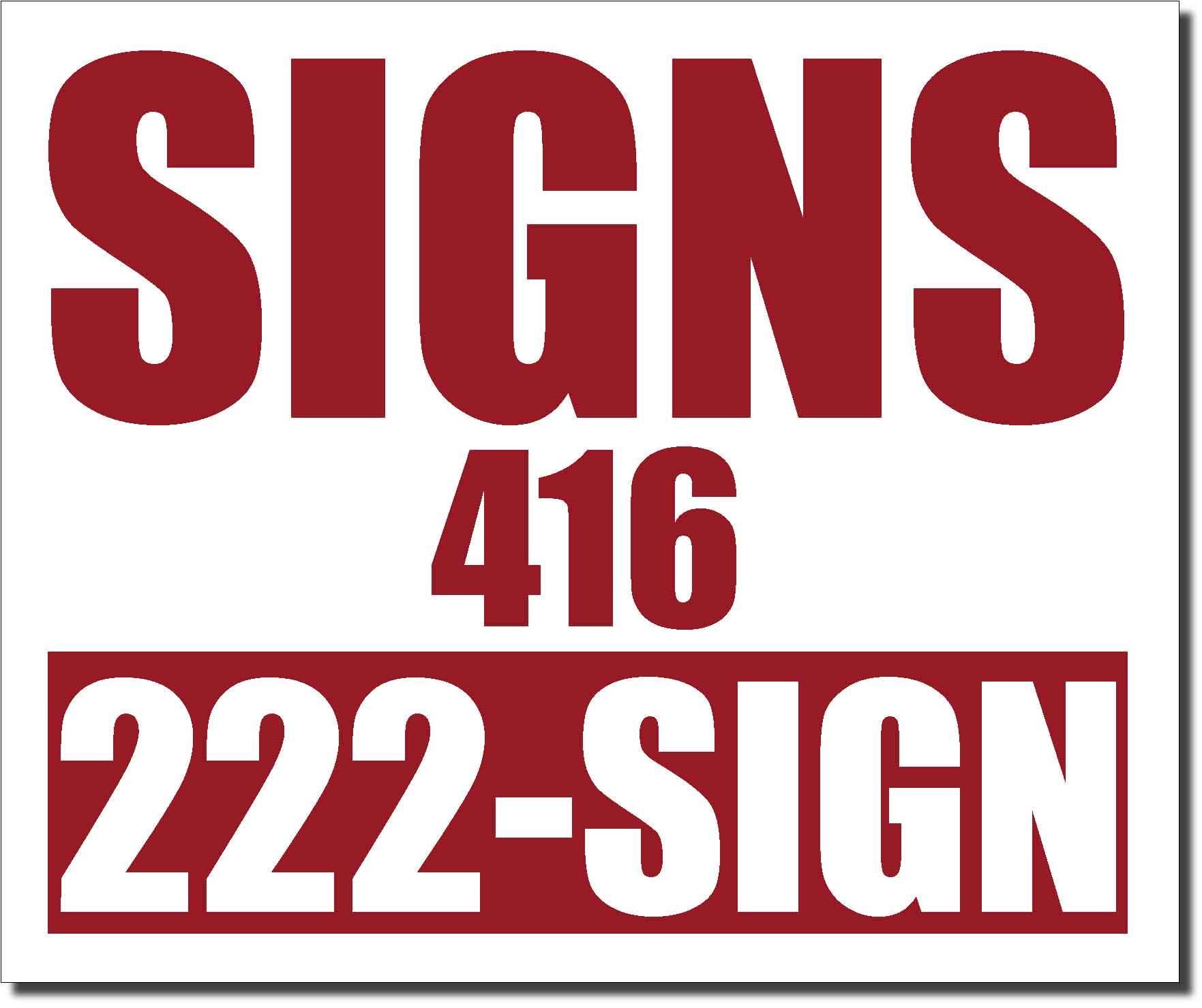 24x20 burgundy color lawn bag signs print colour