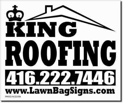 King Roofing Lawn Sign